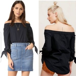 Free People Show Some Shoulder Top Navy Blue